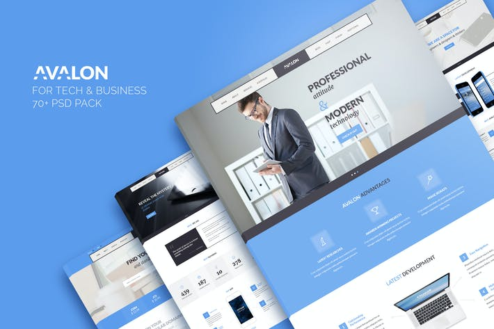 Thumbnail for Avalon — Business & Technology PSD Template