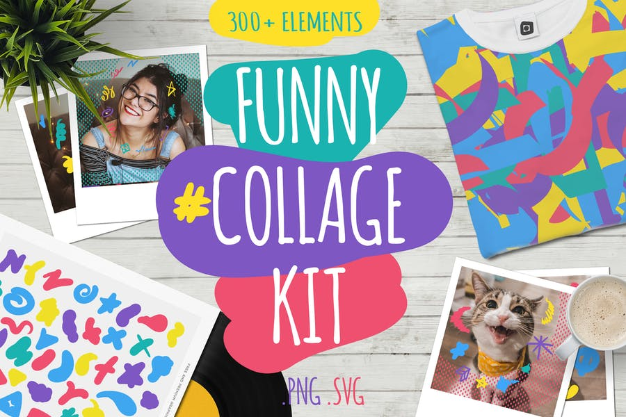 Lustige Collage Kit