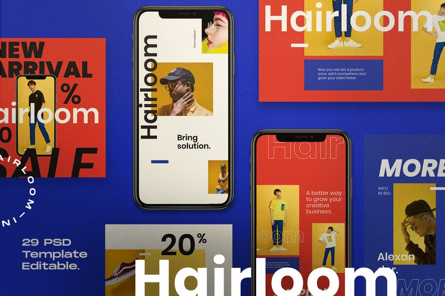 Hairloom - Social Media Template + Stories