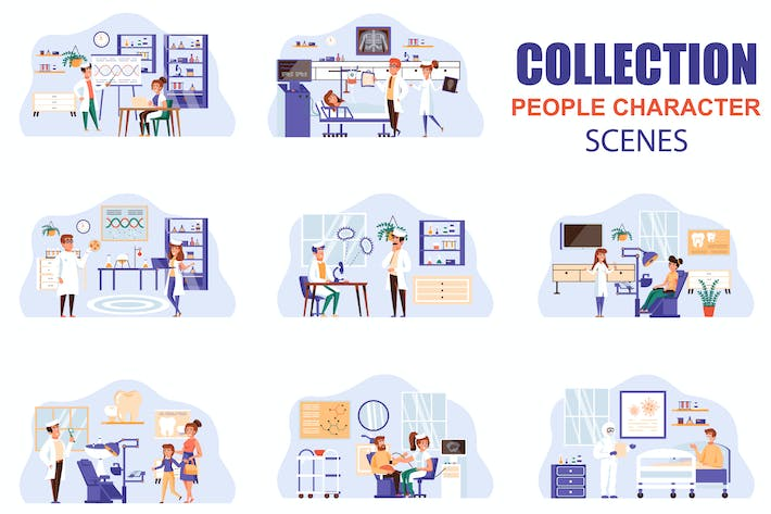 Medical Clinic People Character Scenes Kit