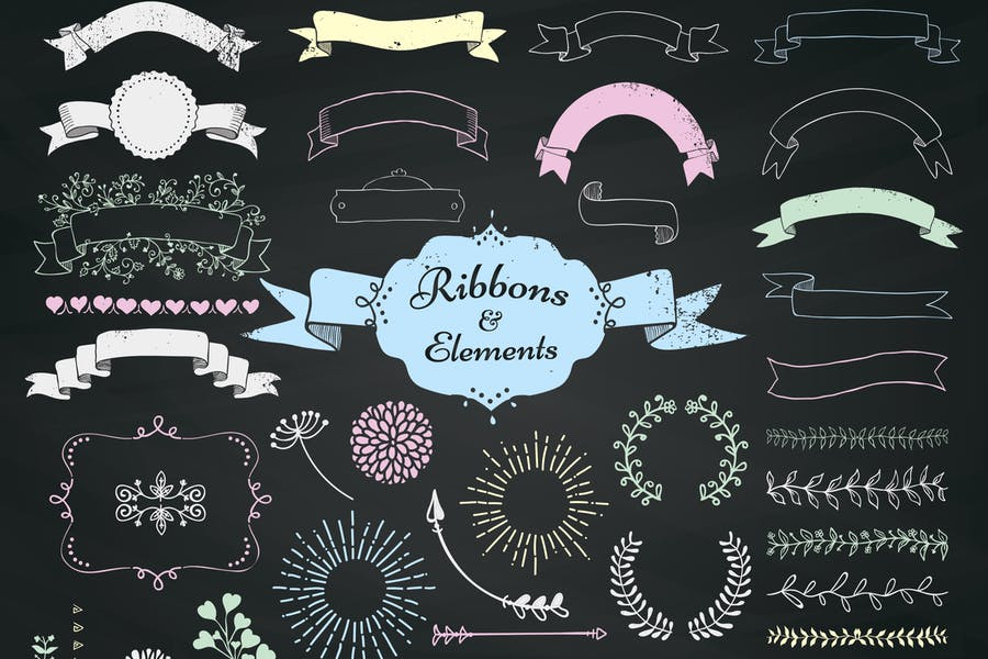 Chalk-Drawing-Ribbons-and-Elements