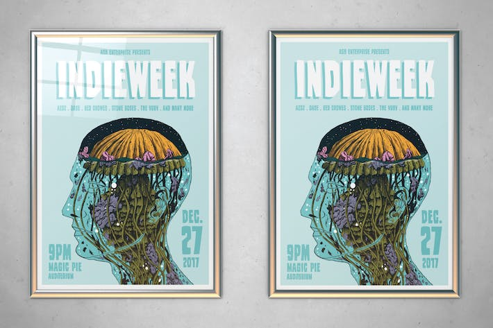 Thumbnail for Illustrated Indie Week Flyer Poster
