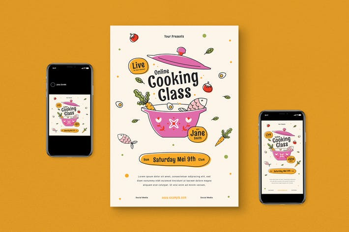 Online Cooking Flyer Pack