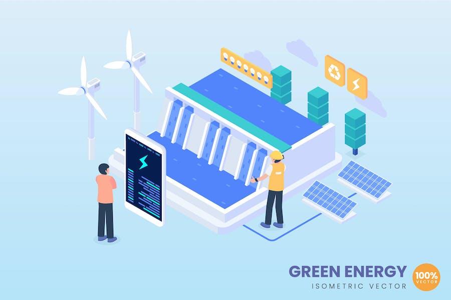 Isometrisches Konzept der grünen Energie
