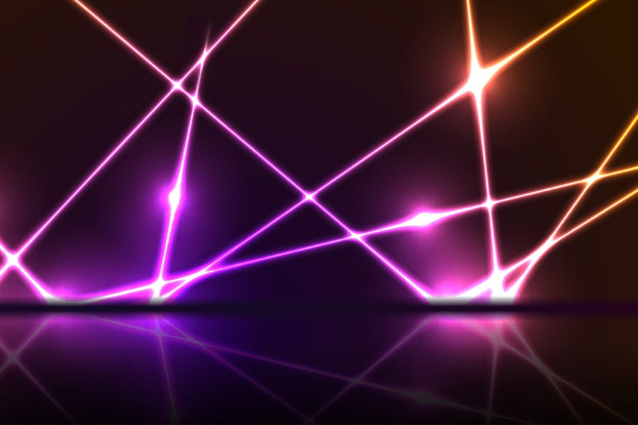 Purple orange neon laser lines