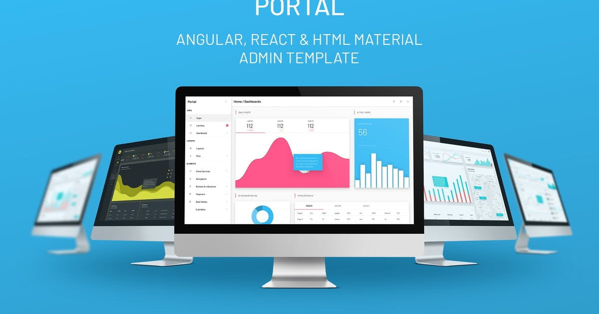 Download Portal - Angular / React / HTML Admin Template by oxygenna