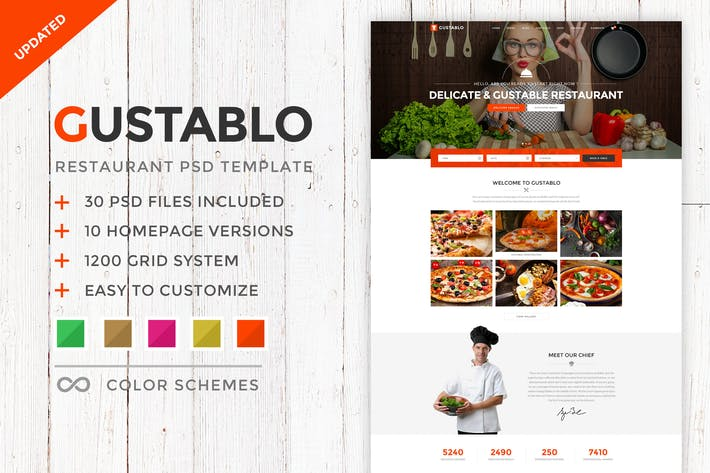 Thumbnail for Gustablo - Restaurant PSD Template