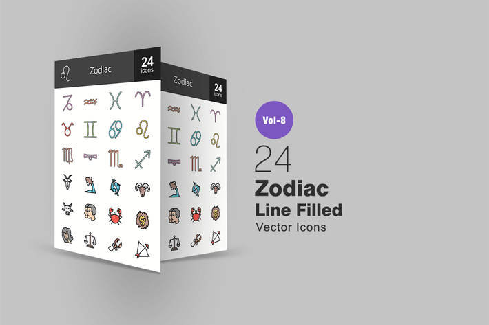 Cover Image For 24 Zodiac Line Filled Icons