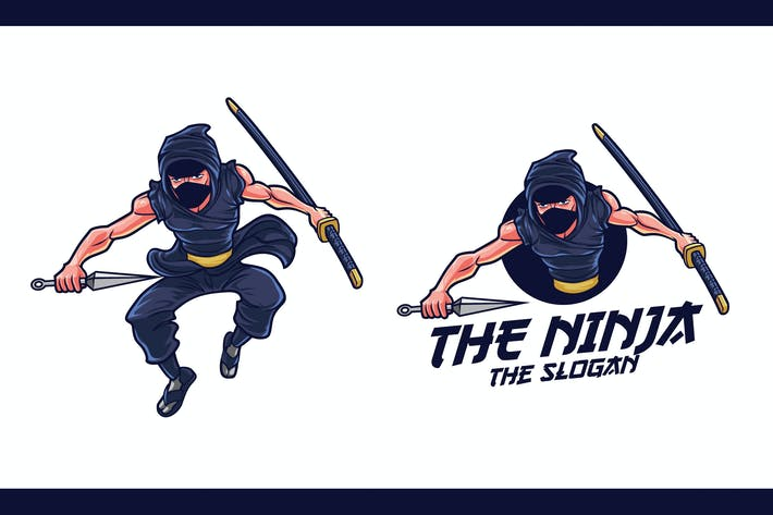 Thumbnail for Cartoon Ninja Character Mascot Logo