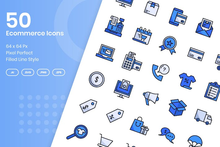 Thumbnail for 50 Ecommerce Icons Set - Filled Line