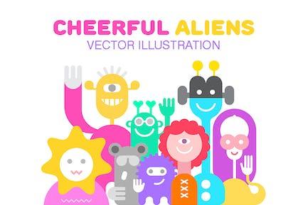 Ilustración Vector Alegre Aliens