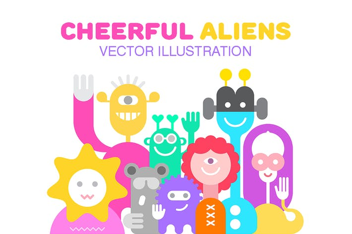 Thumbnail for Cheerful Aliens vector illustration
