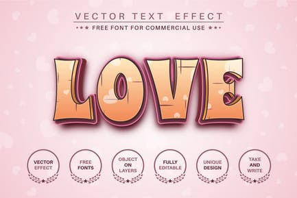 Loving Love - редактируемый текстовый эффект, стиль шрифта