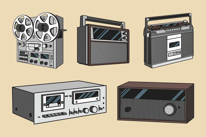 Thumbnail for Vintage Audio Illustration Color