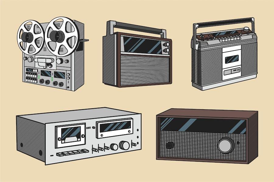 Vintage Audio Illustration Color