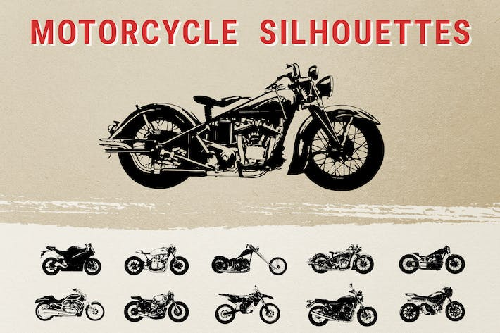 Cover Image For Vintage Motorcycle Silhouettes