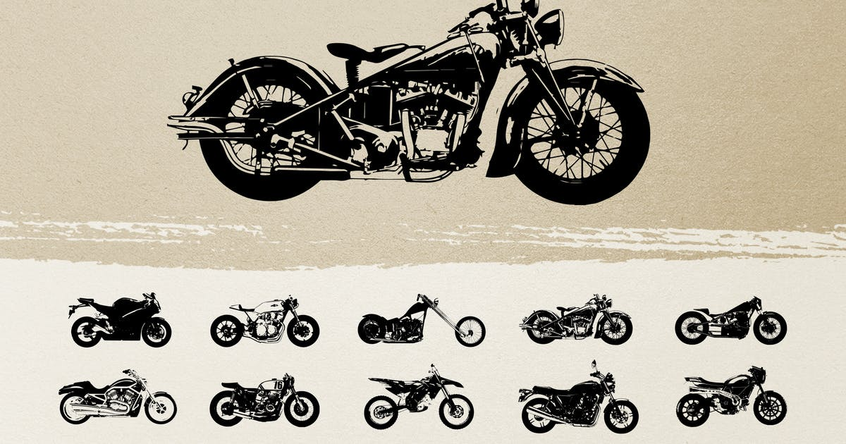 Download Vintage Motorcycle Silhouettes by adrianpelletier