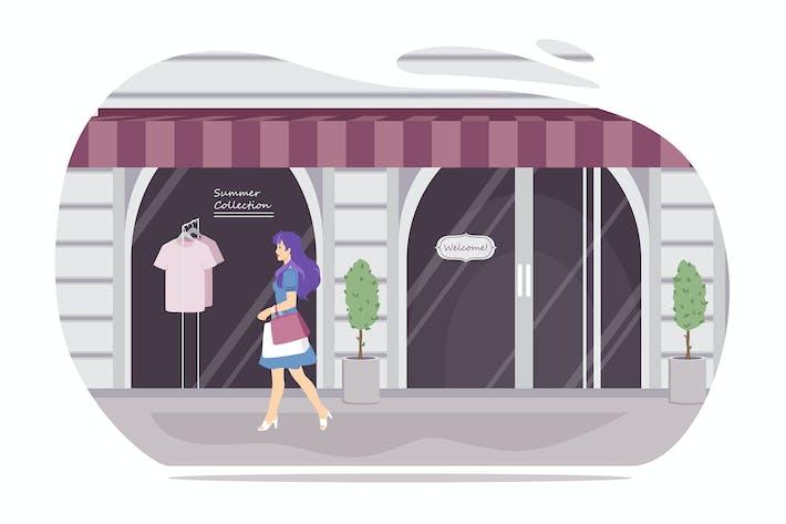 Mädchen zu Fuß mit Einkaufstaschen