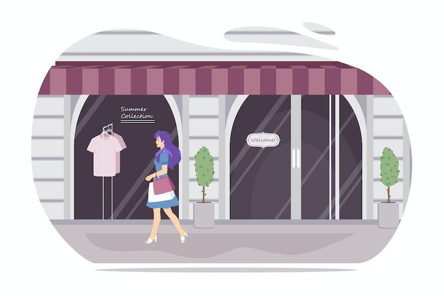 Chica caminando con bolsas de compras