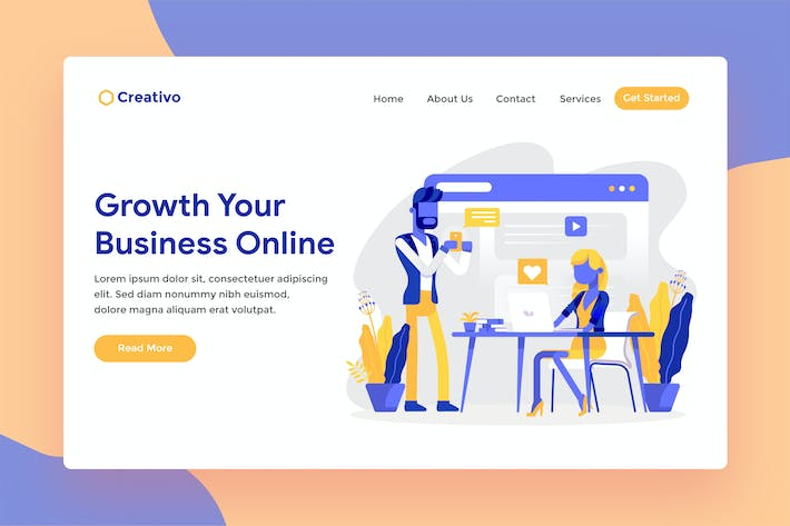 Thumbnail for Online Business Web Landing Page Illustration