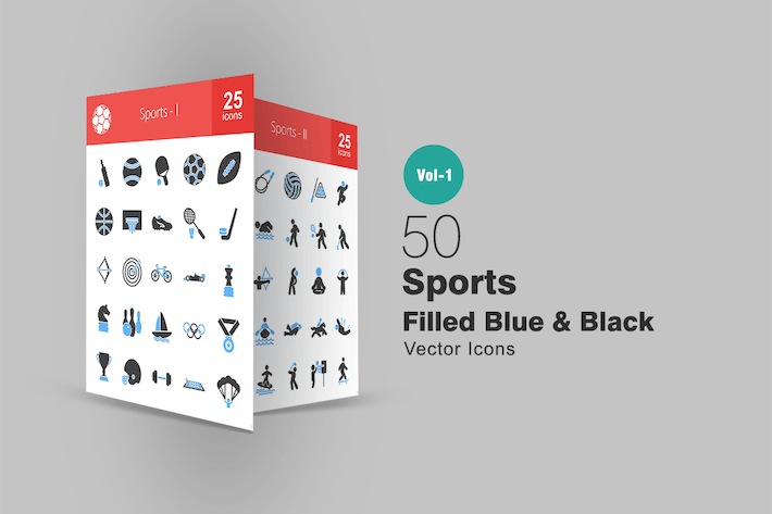 Thumbnail for 50 Sports Filled Blue & Black Icons