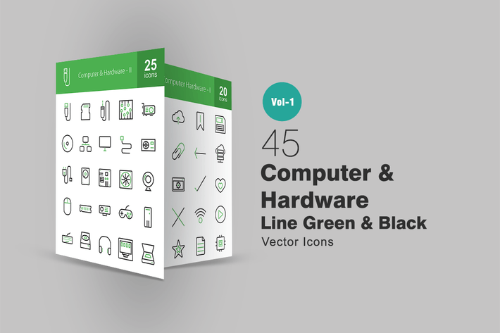 Thumbnail for 45 Computer Line Green & Black Icons