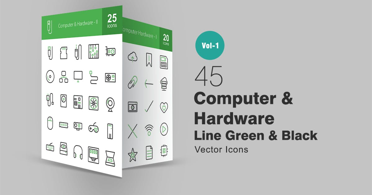 Download 45 Computer Line Green & Black Icons by IconBunny