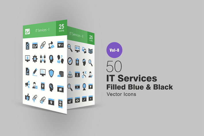 Thumbnail for 50 IT Services Blue & Black Icons