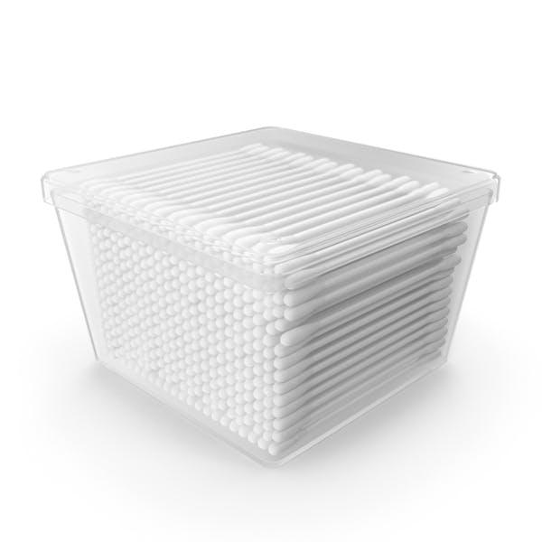Хлопковые палочки в пластиковой коробке
