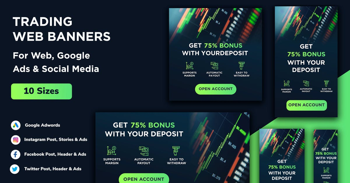 Download Trade Dark Blue Google Ads, Web Banners & Post by Nagaredesignstudio