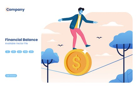 Businessman Walking on Dollar Coins on Rope Vector
