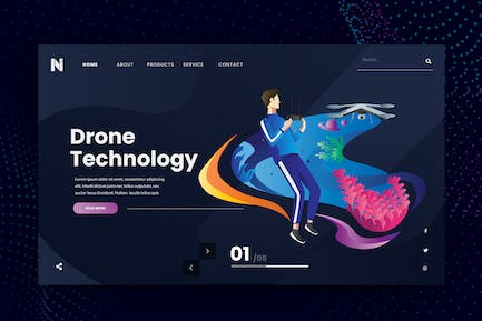 Drone Technology Web Header PSD and AI Template