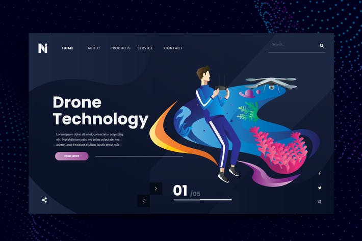 Thumbnail for Drone Technology Web Header PSD and AI Template