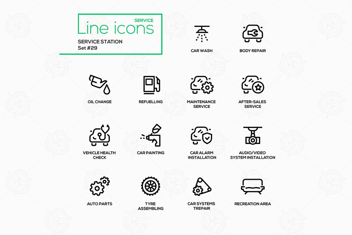 Download Service station - modern vector single line icons by BoykoPictures by Unknow