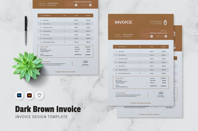 Dark Brown Invoice