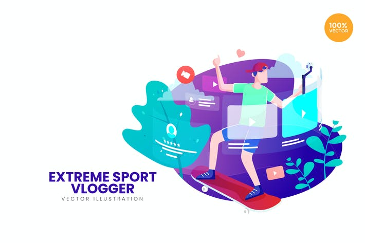 Thumbnail for Extreme Sport Vlogger Vector Illustration Concept
