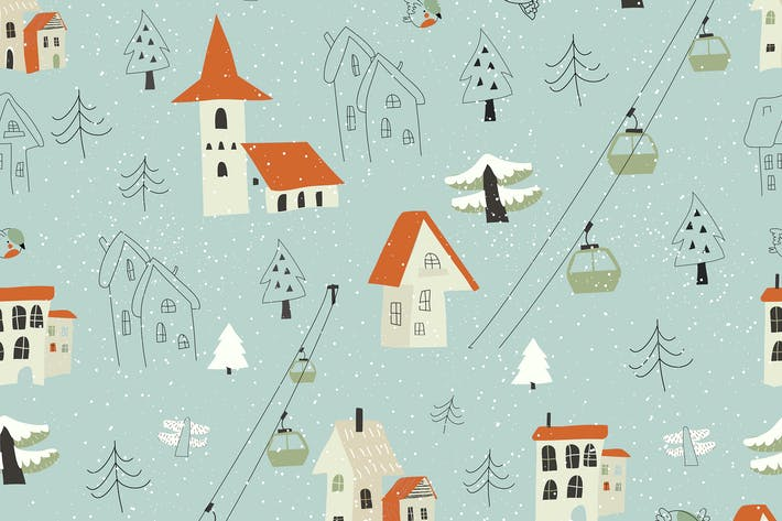 Thumbnail for Vector seamless pattern with village in the forest
