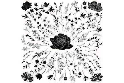 Vector Florals Black Shapes. Hand Drawn Herbs.