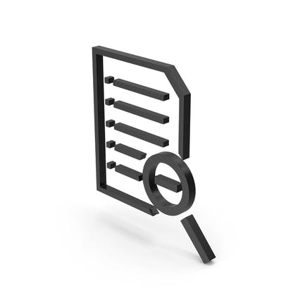 Symbol Document File Zoom Out Black