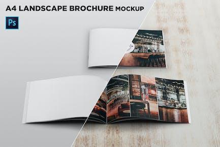 Cover & Open Landscape Brochure Mockup Front View