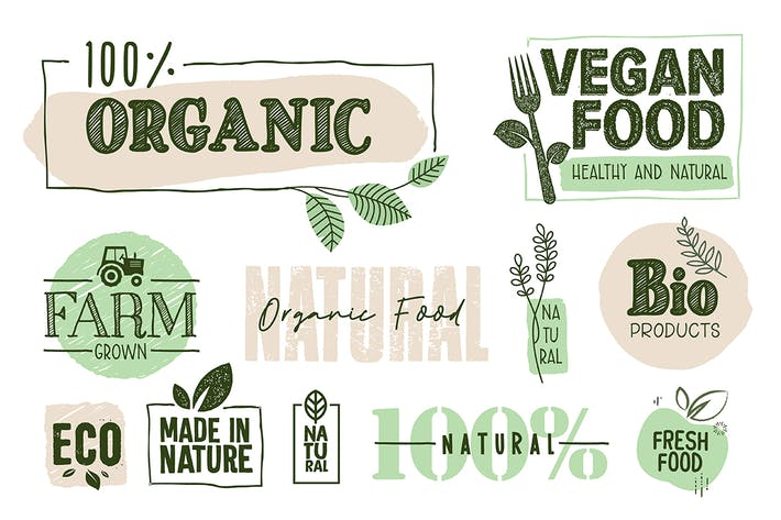 Thumbnail for Organic Food Signs and Elements Collection