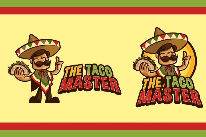 Thumbnail for Cartoon Friendly Mexican Holding Taco Mascot Logo