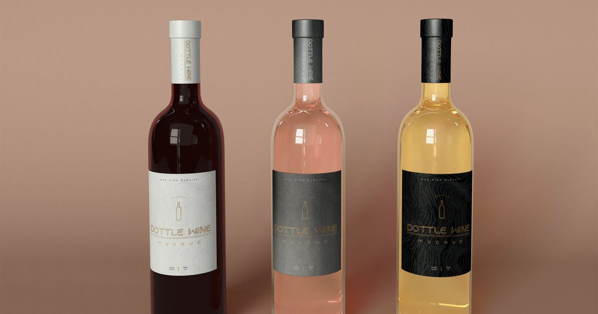 Download Wine Bottles Mockup by megostudio