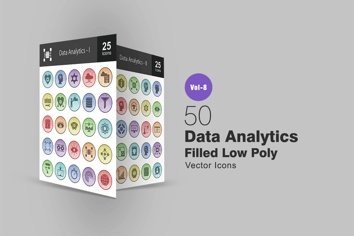 Thumbnail for 50 Data Analytics Filled Low Poly Icons