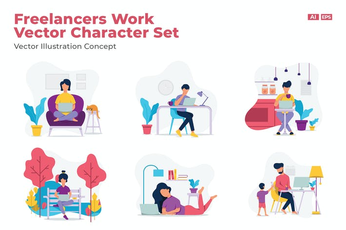 Thumbnail for Freelancers Work Vector Character Set