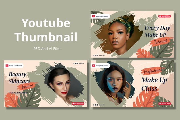 Beauty Care – Youtube Thumbnail Template Pack