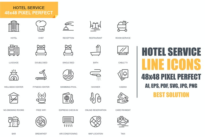 Thumbnail for Simple Set Hotel Services Line Icons