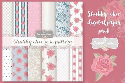 Shabby-chic rose digital paper pack