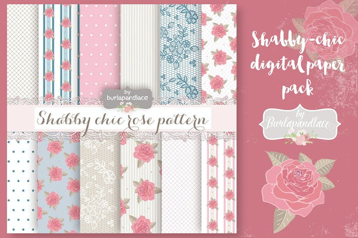 Thumbnail for Shabby-chic rose digital paper pack