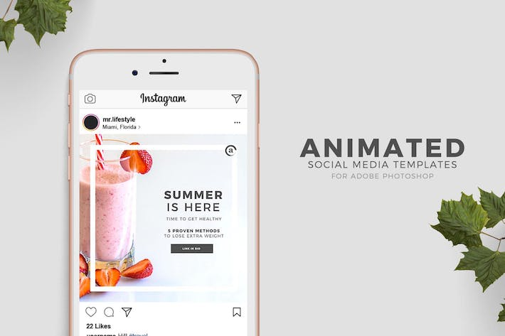 Thumbnail for Photoshop Animated Social Media Templates